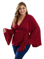 Fresh Wine Red Large Size Shirt Flared Sleeve V-Neck For Sexy Women