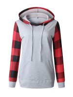 Likable Light Gray Plaid Pattern Hooded Collor Sweatshirt For Women Online