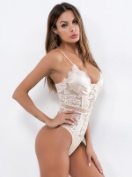 Beige Lace See-Through Sling Tight Teddy Fashion Online For Women