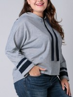 Adorable Gray Hoodie Drawstring Queen Size Full Sleeve Stretch