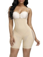 Body Shaper Bodysuit Skin Color Sheer Mesh Button Tab Firm Control
