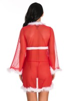 Gracious Red Long Sleeves Babydoll Christmas Mesh Breathable