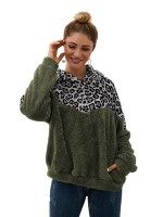 Astonishing Army Green Sweater Hooded Neck Patchwork Pocket Casual