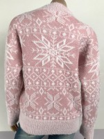 Energetic Pink Snowflake Print Sweater Crew Neck Cheap Wholesale