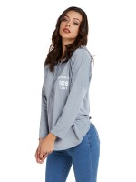 Delightful Gray Long Sleeve Drawstring Sweatshirt Feminine