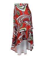 Modern Maxi Skirt Ruffle Hem African Pattern Great Quality