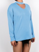 Lavish Light Blue Hollow Out Queen Size Baggy Shirt Breath