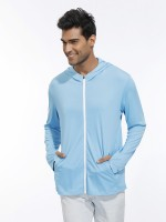 Bright Blue Hooded Zipper Sport Top Thumb Hole Cool Fashion