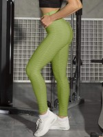 Liberty Trendy Dark Green High Waist Jacquard Sport Leggings Comfort
