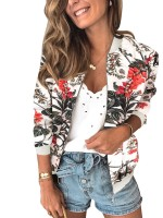 Premium Rib Collar Jacket Leaf And Flower Print New Fashion