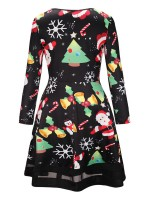Fitness Christmas Paint Midi Dress Round Collar Outfit