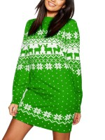 Intriguing Green Chiristmas Print Sweater Dress Round Collar Loose Fit