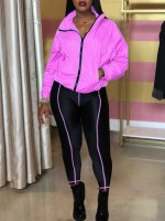 Brightly Pink Zipper Full Sleeves Top Sport Pants For Traveling