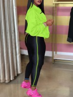 Elegant Yellow High Waist Zipper Pockets Sport Suit Best Design