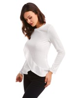 Luscious Curvy White Ruffle Trim Shirt Solid Color For Female