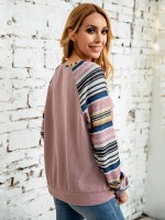 Soft-Touch Light Pink Stripe Colorblock Top V-Neck Zipper Ladies Grace