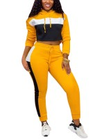 Eye Catching Yellow Two Pieces Hooded Top Colorblock Pants For Fitness
