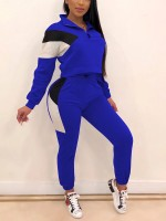 Blue Two-Piece Sports Top And High Rise Pants Workout Clothes