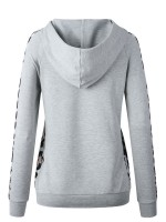 Bewitching Light Gray Drawstring Hooded Collar Top Leopard Fashion Top
