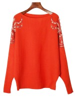 Geometrical Orange Bat Sleeves Sweater Boat Neck With Pearl Fashion