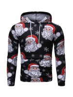 Classical Santa Claus Pattern Hoodie Queen Size For Vacation