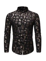 Modest Black Christmas Male Shirt Button Front