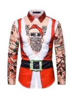 Astonishing Man Santa Claus Paint Shirt Button Slim Best Materials