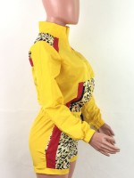 Fitting Yellow Leopard Print Drawstring Sweat Suit Fashion Style