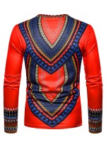 Form-Fitting Red Men Round Collar Shirt Africa Printed Heartbreaker