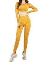 Fetching Yellow Round Neck Crop Sport Set Mesh Patchwork For Workout