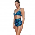 Breathable  High Waisted Plus Size Halter Swimsuits Front Bowknot