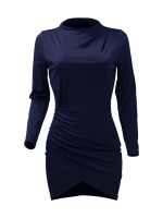Lovely Royal Blue Cross Hem Bodycon Dress Solid Color Online Sale