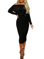 Close Fitting Black Bodycon Dress Off Shoulder Long Sleeve For Ladies