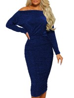 Casual Blue Solid Color Sequin Bodycon Dress Latest Fashion