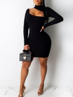Glitzy Black Long Sleeve Cutout Bodycon Dress Visual Effect