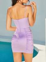 Tantalizing Purple Backless Zipper Bodycon Dress Ruched Elasticity