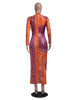 Orange Bodycon Dress Dollar Print High Neck Sensual Curves