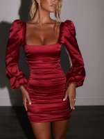 Wine Red Long Sleeve Ruched Bodycon Dress Backless For Shopping