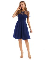Chic Royal Blue Hollow-Out Evening Dress Large Size Wholesale