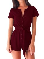 Red Romper Button Solid Color Round Neck