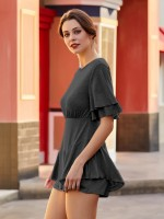 Loose Black Round Collar Flounce Sleeves Jumpsuit Fashion Forward