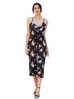 Black Spaghetti Strap Jumpsuit Floral Printed Newest Fashion