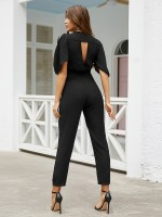 Eye Catch Black Tie Waist Jumpsuit V Neck Hollow Out Charming