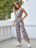 Demure Keyhole Jumpsuit Wide Leg With Pocket All-Match Style