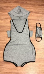 Eye-Appealing Gray Sleeveless Mask Jumpsuit Cut Out For Female