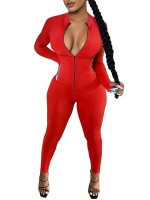 Red Thumbhole Romper Full Sleeve Ankle Length Ladies Fashion