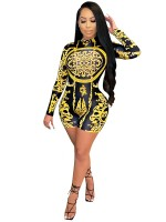 Yellow Printed Romper Long Sleeves Back Zipper Preventing Sweat