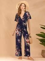 Uniquely Blue Ruffle Jumpsuit V Neck Flower Printed Outfit
