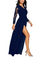 Fitness Blue V-Neck High Slit Lace Maxi Dress Girls