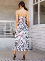 Noticeable Open Back Maxi Dress V Collar Womens Fashion Shopping